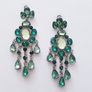 2/$30 CHANDELIER Green Rhinestone Earrings